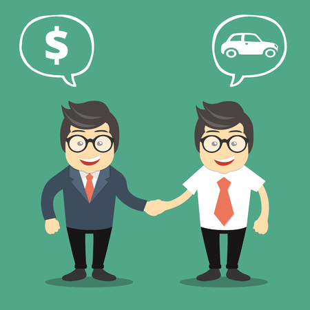 Buying a car concept. Auto dealer with new owner shaking hands. Flat vector illustration