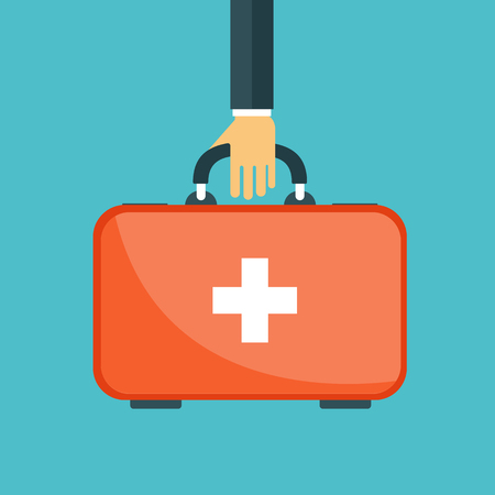Vector illustration in a modern flat style, health care concept. Hand with medical bag. Flat vector illustration.