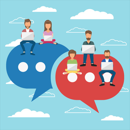 People sitting on big symbols. Speech bubbles for comment and reply concept. Flat vector illustration of young people using lap top for texting and leaving comments in social networks.