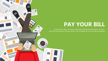 Bill payment design in flat style.