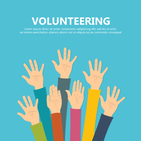 Volunteering concept. Hand raised up. Flat vector illustration Illustration