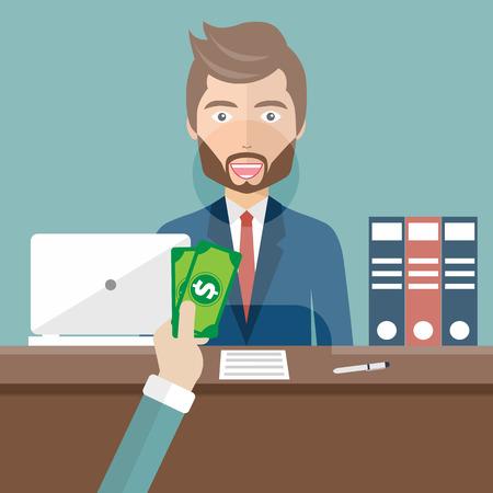 Bank teller sitting behind glass. Man clerk in a bank office receiving money. Flat vector illustration