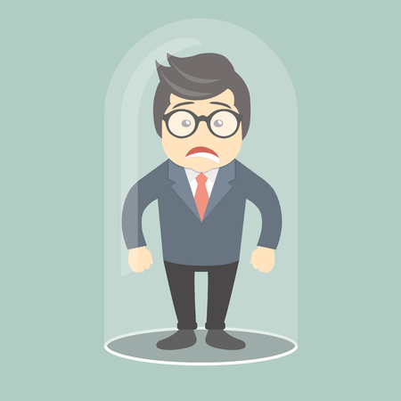 Sad businessman trapped in glass bulb. Flat vector illustration