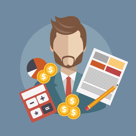 Business research and analysis concept. Flat vector illustration