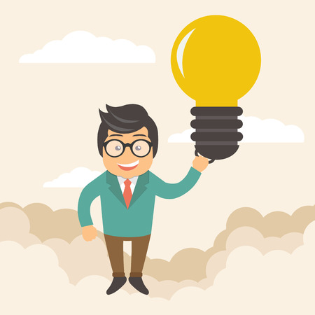 Businessman holding flying bulb as balloon to take him fly high. Happy and success concept. Flat vector illustration Illustration