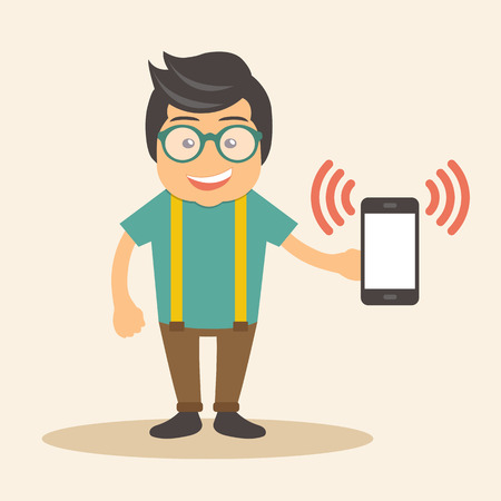 Man holding ringing smart phone in his hand. Flat vector illustration