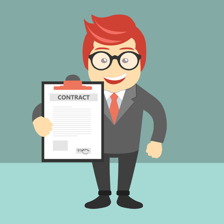 Businessman holding business contract and agreement document. Flat vector illustration Stock Illustratie