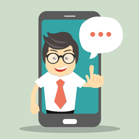 Technical support concept. Screen smartphone with virtual assistant. Flat vector illustration