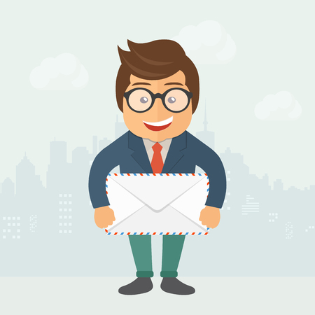 Cartoon postman holding mail. Flat vector illustration