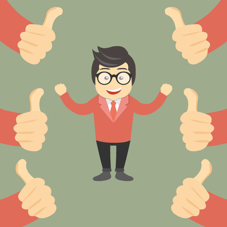 Business compliment concept. Happy and proud businessman with many thumbs up hands around him. Flat vector illustration