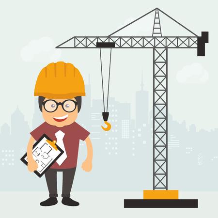Ingeniero de pie con documento de plan de construcción. Sitio de construcción. Concepto de ingeniería. Ilustración vectorial plana