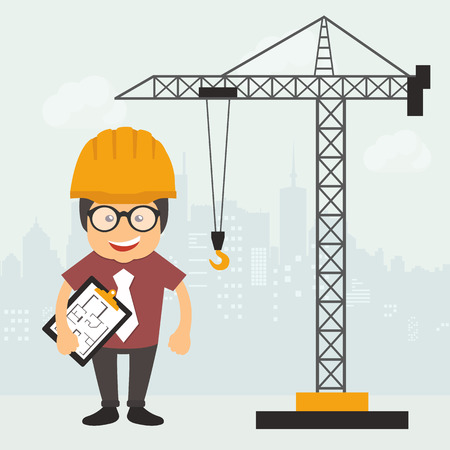 Engineer standing with construction plan document. Construction site. Engineering concept. Flat vector illustration