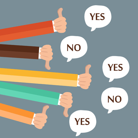 Businessmen feedback, likes and dislikes. Flat vector illustration