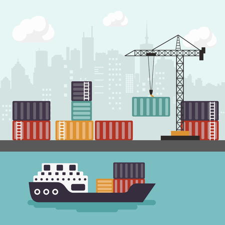 Container ship at freight port terminal Unloading. Merchant Marine. Flat vector illustration