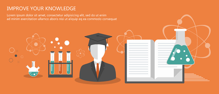 Education banners. On line learning, tutorials, professional education. Flat vector illustration