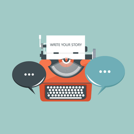 Write your story business banner for journalism. Flat vector illustration Çizim
