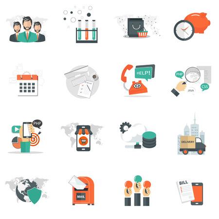 비즈니스, 기술 및 관리 아이콘은 웹 사이트 및 모바일 응용 프로그램을 설정합니다. 평면 벡터 일러스트 레이션 스톡 콘텐츠 - 94604913