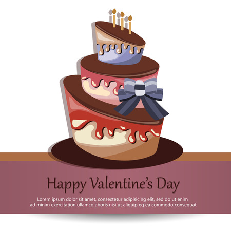 Valentines Day card. Concept for Valentines Day, birthdays, weddings. Colorful cake. Flat vector illustration