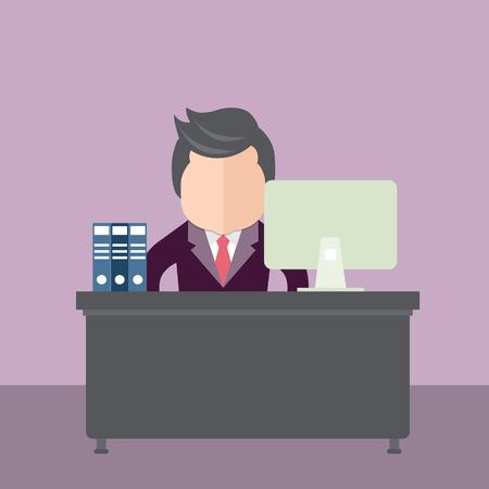 사업가 사무실에 앉아입니다. 플랫 벡터 일러스트 레이션 스톡 콘텐츠 - 94654640