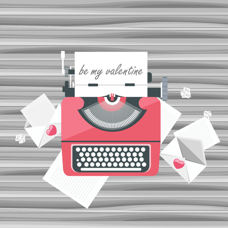 발렌타인 데이 아이콘. 사랑 개념입니다. 타자기 컴퓨터 주위 문자로 나무 테이블에. 플랫 벡터 일러스트 레이션 스톡 콘텐츠 - 94654651