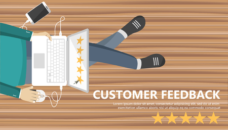 Rating on customer service illustration. Man sitting on the floor and holding lap top in his lap. Website rating feedback and review concept. Flat vector illustration Ilustração