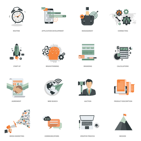 Business and management icon set for website development and mobile phone services and apps. Flat vector illustration.