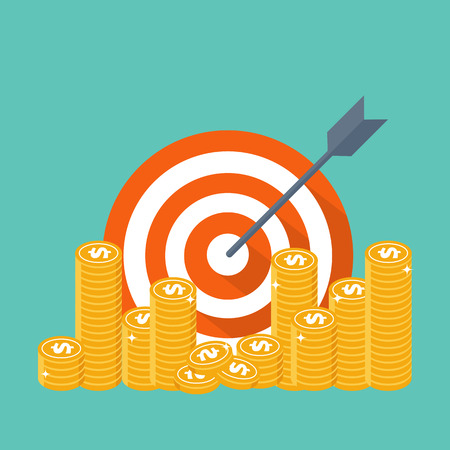Business strategy. Target, arrow and money coins. Modern flat design concept for web banners, web sites, printed materials, info-graphics. Creative colorful vector illustration. 일러스트