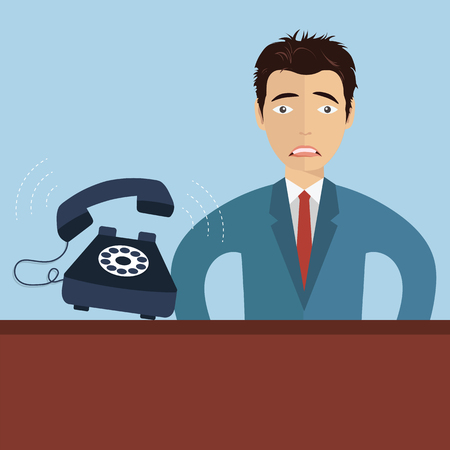 Worried businessman with ringing telephone. Busy customer support technician. Flat vector illustration. 일러스트