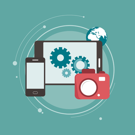 Digital camera connecting with mobile devices and data transfer. Flat vector illustration.
