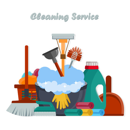 Equipment Cleaning service concept. Poster template for house cleaning services with various tools. Flat vector illustration. 일러스트