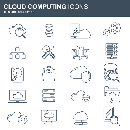 Cloud computing and technology icon set. Concept for internet technology, on line services, connection, data information. Flat vector illustration 일러스트