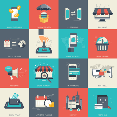 E-commerce and online shopping icon set. Flat vector illustration.