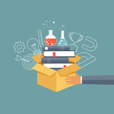 Hand holding box with bunch of books. Education and knowledge concept. Flat vector illustration