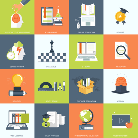 Education, knowledge and science icon set. Flat vector illustration.
