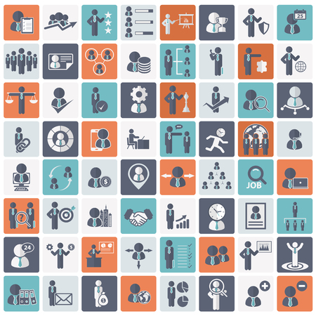 Human resources and management Icon set. Flat vector illustration 일러스트