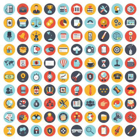 Business and management icon set for websites and mobile applications. Flat vector illustration