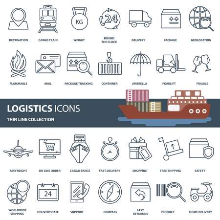 Logistics, product transportation and delivery icon set. Outline web icon set. Flat vector illustration