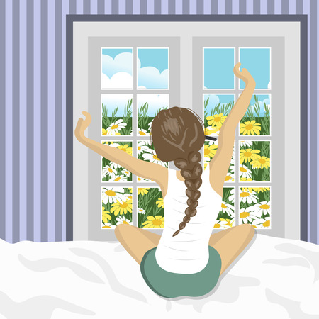 Woman stretching in bed after wake up. Concept for holidays and vacations. Summer scenery. Flat vector illustration