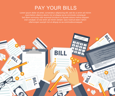 Bill payment design in flat style. Paying bills concept. Office desk with bills and office equipment. Flat vector illustration