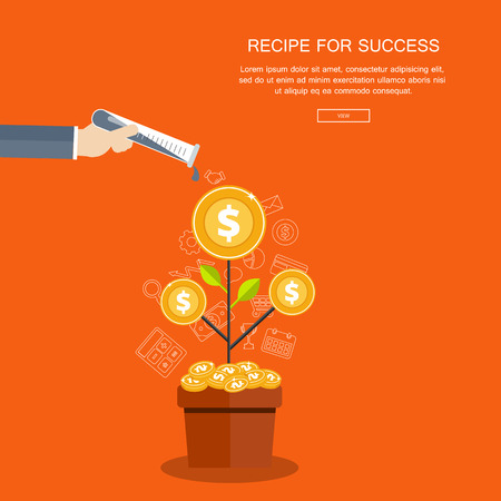 Recipe for success business background. Flat vector illustration
