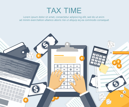 Tax payment. Government, state taxes. Data analysis, paperwork, financial research, report. Businessman calculation tax return. Flat design. Tax form vector. Payment of debt. 일러스트