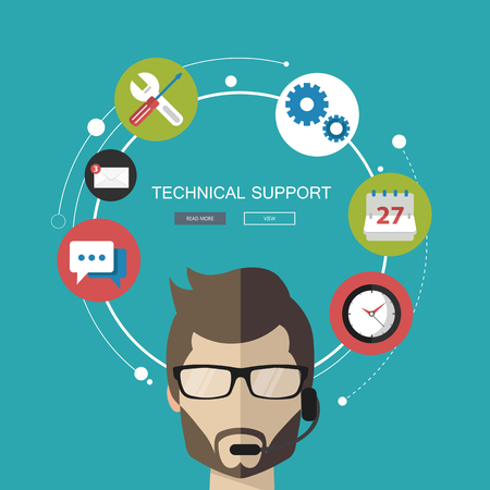 Support service concept. Flat design illustration with icons. Technical support assistant.