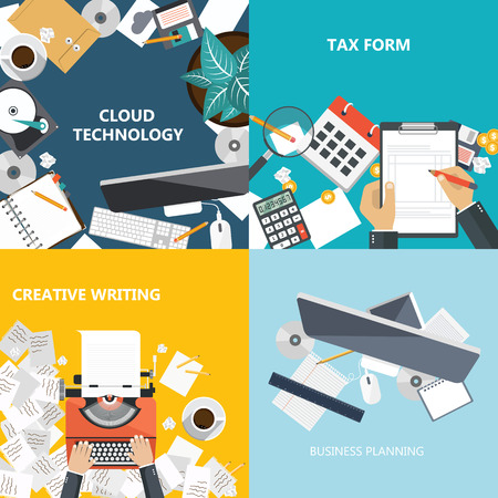 Business and technology concepts. Flat vector illustration Stock Illustratie