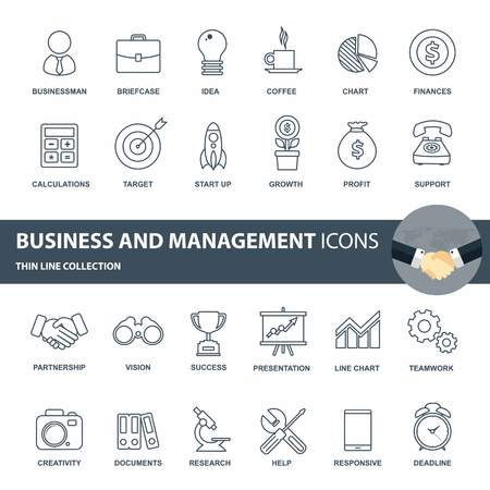 Business and management icon set. Outline icon set for web. Flat vector illustration 일러스트