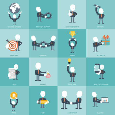 Human resources and management Icon set. Business, management and finances icon set. Flat vector illustration