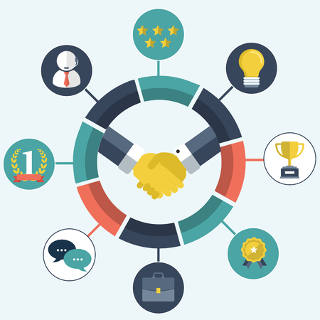 Business relationship, customer relationship management concept. System for managing interactions with current and future customers. Flat vector illustration Illustration
