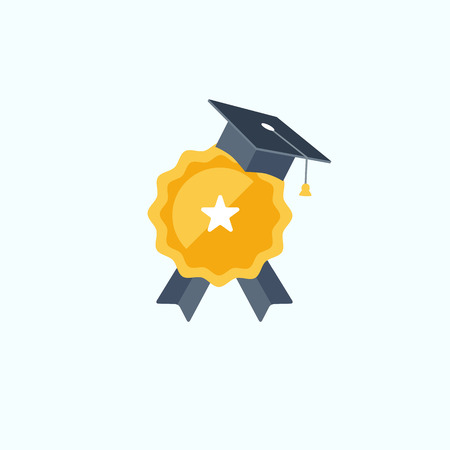 Concept for education success and achievements flat vector illustration.