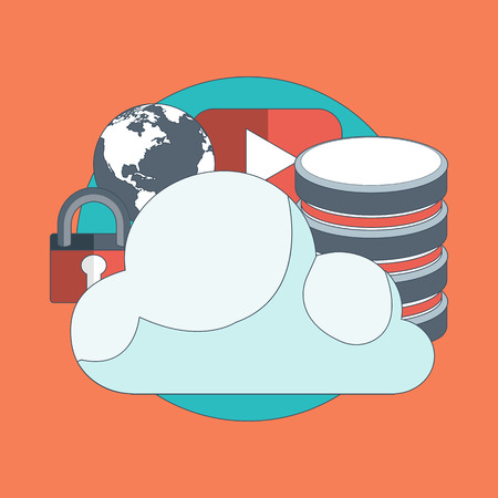 Cloud computing concept data storage network technology. Multimedia content, web sites hosting. Memory, information transfer flat vector illustration.