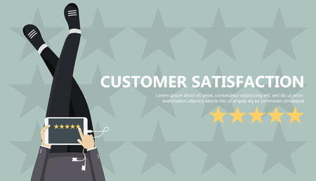 Rating on customer service illustration. Man sitting on the floor and holding tablet in his lap. Website rating feedback and review concept flat vector illustration.