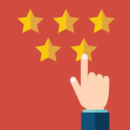 Customer rating, feedback, star rating, quality work. Businessman pointing at a gold star, to give five. Evaluation system. Positive review. Flat vector illustration Illustration